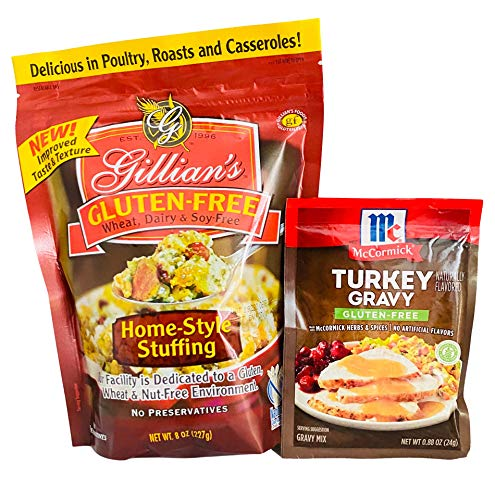 McCormicks's Gluten Free Turkey Gravy and Home Style Stuffing Mix Bundle for Dinner