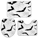Zadaling 3-Piece Bath Rug Mat Sets,Abstract Art Fly Bat Halloween Absorbent Non-Slip Bathroom Doormat Runner Rugs, Toilet Seat Cover, U-Shaped Toilet Floor Mat,Small