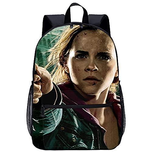 QULONG Harry Potter: Hermione Granger Mochilas Mochila universitaria de mochilas con impresión 3D Mochila para portátil College Mochila Mochila informal Mochila de viaje Mochilas escolares de lona