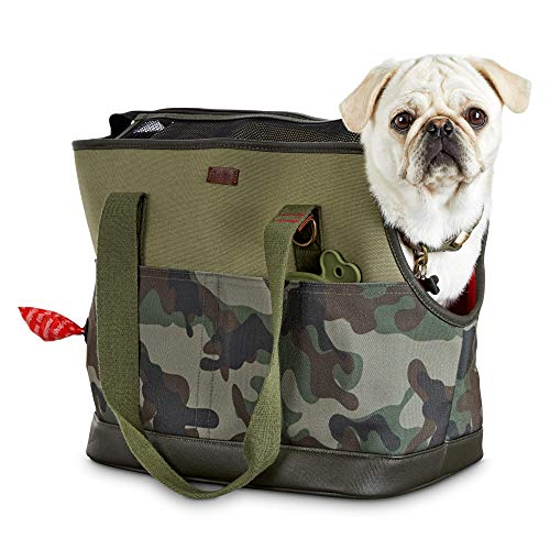 Reddy Camo Canvas Dog Carrier Tote, 19' L x 9' W x 12' H, Small, Green