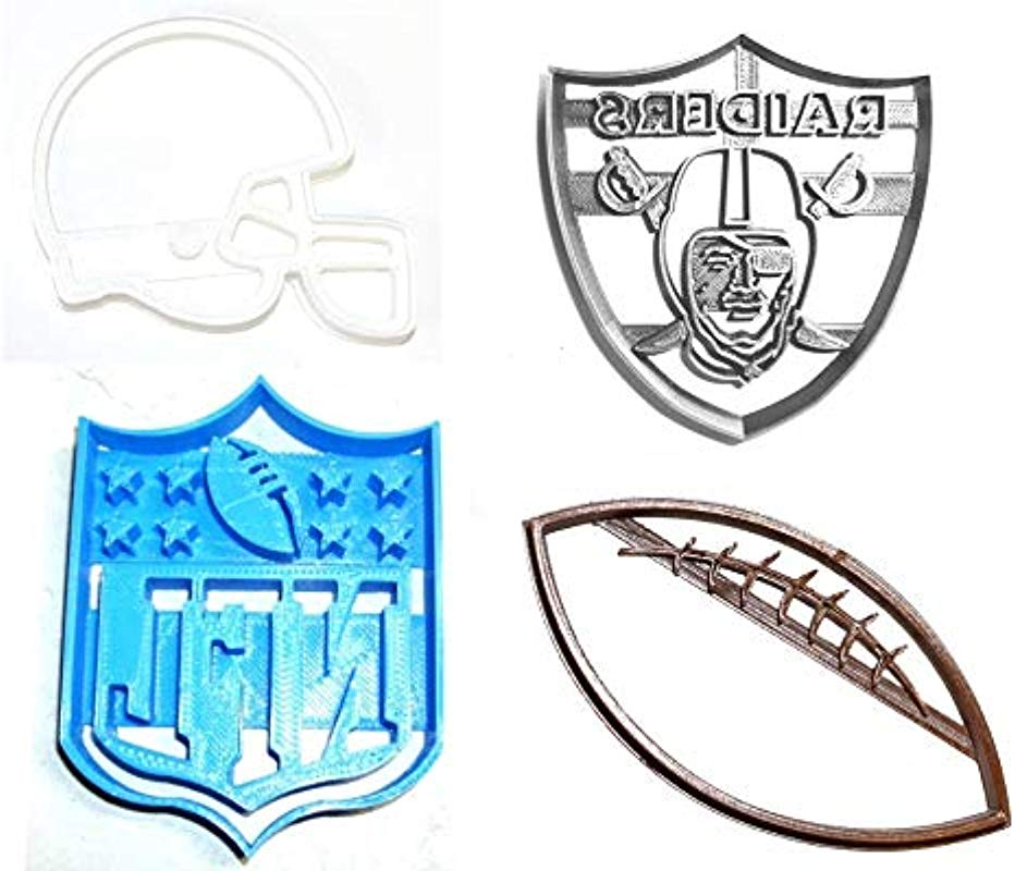 OAKLAND RAIDERS NFL FOOTBALL LOGO HELMET SET OF 4 SPECIAL OCCASION COOKIE CUTTERS BAKING TOOL 3D PRINTED MADE IN USA PR1152