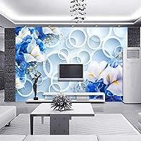 3D写真壁紙壁画3D立体サークル青い花現代アートデザインリビングルームテレビ背景壁装材-130x60cm