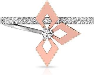 Anello di fidanzamento con fiore aperto certificato IGI, unico anello di fidanzamento con chiarezza del colore HI-SI, 14kt...
