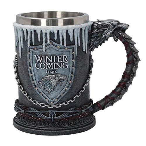 NICEWL Game of Thrones Boccale di Birra,Boccali in Acciaio Inossidabile per Uomo,Resina 3D Stereo Testa di Lupo Tazza Bicchiere da Acqua Bicchiere da Vino con Manico 600Ml