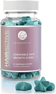HAIRWORTHY - CHEWABLE Fast Acting Hair Growth Vitamins. Natural Supplement for Longer Hair with Coconut Oil, Biotin and Fo...