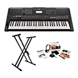 Yamaha PSRE463 61-Key Portable Keyboard with Knox Double X Stand and Survival Kit Bundle (3 Items)