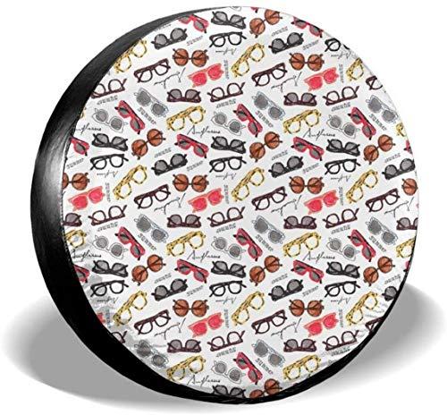 MODORSAN Cubierta de Rueda de Repuesto para anteojos Retro, Cubiertas de poliéster universales para Ruedas para Jeep, Remolque, RV, SUV, camión, Accesorios, 15 Pulgadas