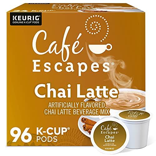 Cafe Escapes, Chai Latte Tea Beverage, Single-Serve Keurig K-Cup Pods, 96 Count (4 Boxes of 24 Pods)