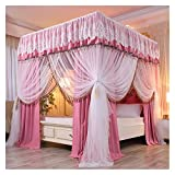 Bed Canopy Pink Girl Princess Room Bed Canopy Curtain, Luxurious Four- Corner Double Bed Cover, with Nets and Frames for All Seasons, 4 Sizes (Size : 180x200x210cm)