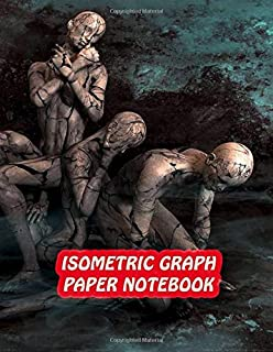Isometric Graph Paper Notebook: Drawing Dot Grid 8.5x11 Landscape Journal 100 sheets | Human Sculpture Cover Print