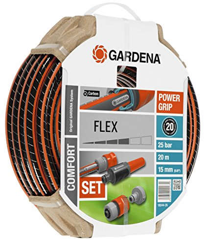 """Gardena Set Flex Ø 15 mm con 20 m de Manguera, Lanza y Accesorios de riego, Estándar, 5/8"""" X 66'"""