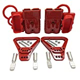 Kit 175 Amp 2Pcs Connectors Plugs 175A Quick Connect Disconnect 600 V+ 2 Pcs 175 amp Handle Battery Power Connector+2 Pcs Cover Dust (Red, 2 AWG)