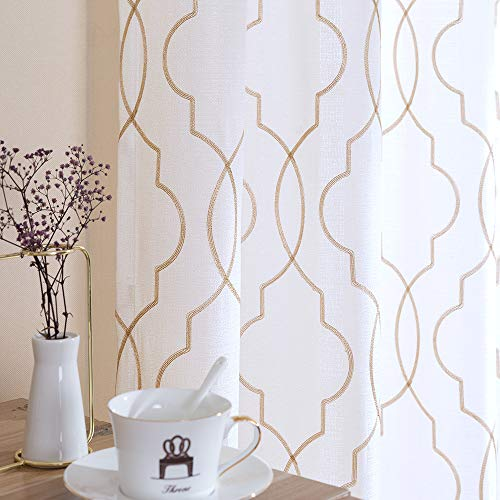 White Moroccan Sheer 84 inch Long Curtains Living Room Window Trellis Pattern Embroidered Design Grommet Top Bedroom Linen Textured Privacy Curtain Drapes 2 Panels