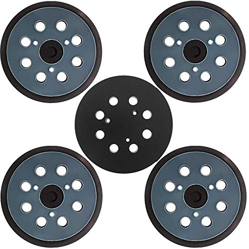 Tockrop 5 Pack 5 Inch Dia 8 Hole Sander Hook and Loop Replacement Sanding Pad For Makita BO5010, BO5030/K, BO5031K, BO5041K, XOB01Z Random Orbit Sander