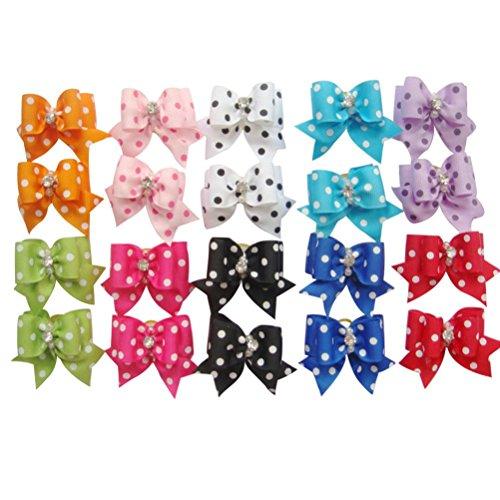 20PCS Lovely Pet Hund Katze Puppy Pflege Haar Schleife Gummi Band Kopfschmuck Blume Haar Charms Zubehör
