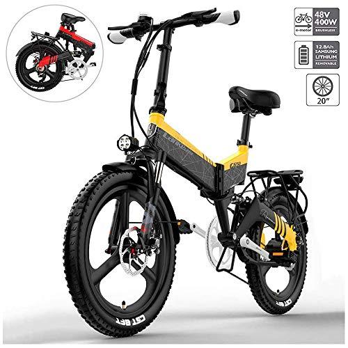 YSHUAI 20 Zoll Klapprad E-Bike Elektrofahrräder Elektrofahrrad Mountainbike 400W Fettreifen Für Herren Und Damen Mit 48V 10.4-12.8Ah Lithium-Batterie Bis Zu 120 Km Reichweite Citybike,Gelb,12.8A