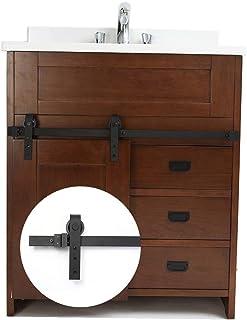 Juego de rieles para puertas de granero corredizas reales para trabajo pesado, 3.3 pies, perfecto para gabinetes - Ultra suave y silencioso - Instalación rápida y fácil(F01-100cm)