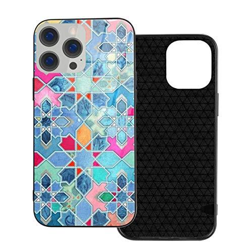 Funda protectora compatible con iPhone 12 / iPhone 12 Pro Case Pretty Pastel Azulejo Mosaico Casos de Teléfono/Cubierta Cubierta de Cristal Templado