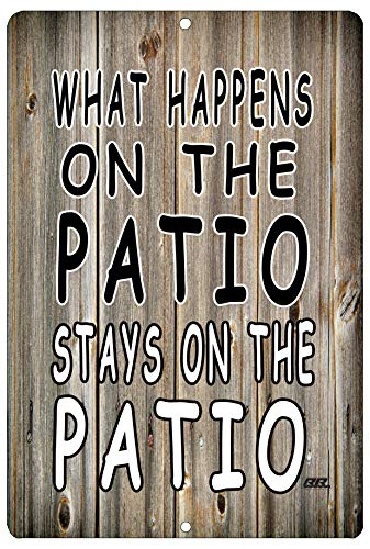 Rogue River Tactical Funny Sarcastic Metal Tin Sign Wall Decor Man Cave Bar What Happens on The Patio
