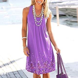 QWERTY Marca Senza Maniche Stampato Il Vestito Allentato delle Donne Europee e Americane Brand:QWERTY (Color : Purple, Siz...
