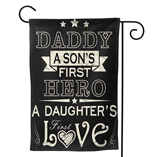 2 Pcs Garden Flag Daddy A Son's First Hero Daughters First Love Poster 12 x 18 inch-Mothers Day, Birthday Gifts for Mom, Dad, Wife, Husband, Daughters, Grandma, Friends