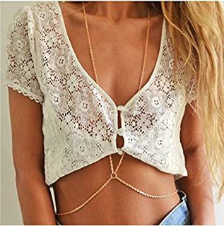 Unicra Bohemia Crystal Body Chain Simple Charm Chain Belly for Women