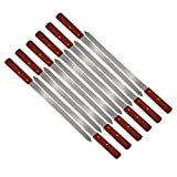 Large Flat Stainless Steel Brazilian Barbecue Style BBQ Skewers for Shish Kebab Turkish Grills & Koubideh Brazilian BBQ - 23 Inch x 1 Inch Wide with Wood Handle (12Pack)