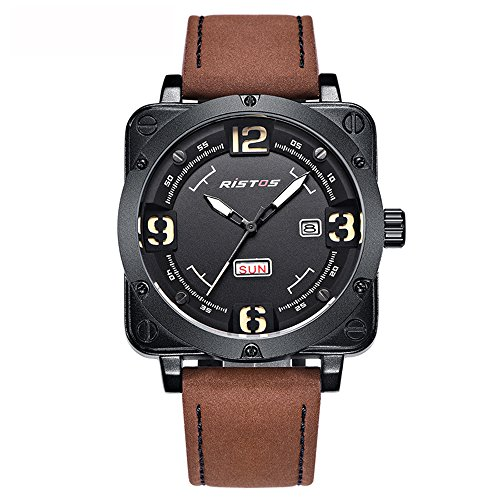 Herren-Armbanduhr,Analogue Quarzuhr Datum Kalender Leder Uhr Casual Militär Sport Armbanduhren mit Braun Echtes Lederband