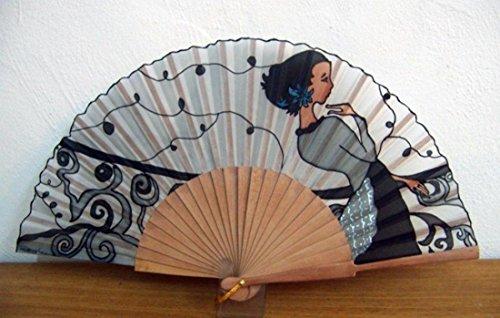 Abanico de seda natural pintado y montado a mano'En la baranda'