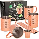 ONVAYA® Set regalo tazza da Moscow Mule con 4 tazze, misura bar e paglia | tazze di rame per cocktail | 4 tazze di rame con capacità 380ml | Set completo | Gin Mule (Lattina Design)