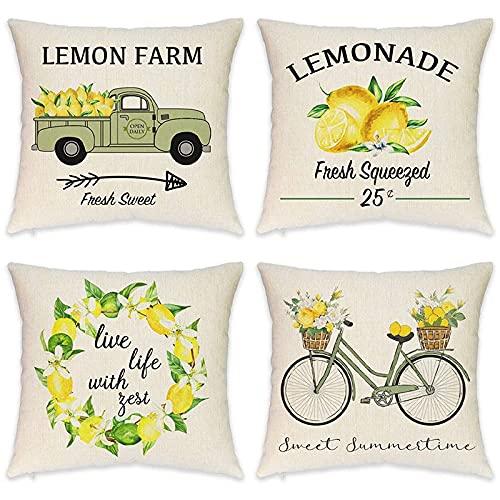 KU Syang Ferme Les Housses de Coussin Citron éTé Citron Vintage Camion Citron VéLo DéCoratif Housses de Coussin Conivent pour Le DéCor D'éTé