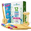 EcoTime Organic Bamboo Toothbrush Premium Set for KIDS - 12-Pack with Colorful Bristles Toothbrush Holder HOURGLASS BONUS and Infographic - Biodegradable Handle - BPA Free Soft Bristles - Eco-Friendly
