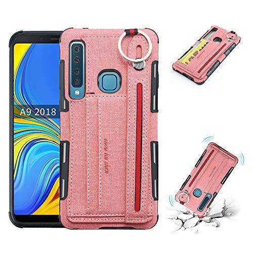Ronde beugel telefoonhoesje Canvas doek Texture telefoonhoesje met polsband met kaart invoegen schokbescherming Cover voor Samsung Galaxy A9 /A9 Star Pro/Galaxy A9s, roze