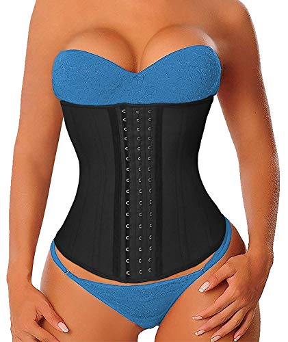 YIANNA Women's Latex Waist Trainer Long Torso Underbust Corsets Cincher Sport Girdle Body Shaper, Size S (Black)