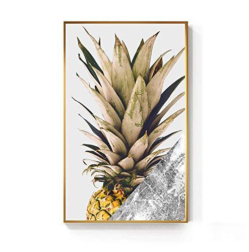 hetingyue Rahmenlose schwarz und Gold Ananas Monstera pflanzenölgemälde Big Leaf Poster Wohnzimmer Wohnzimmer einzigen Flur Moderne dekorative wandkunst 40x60cm