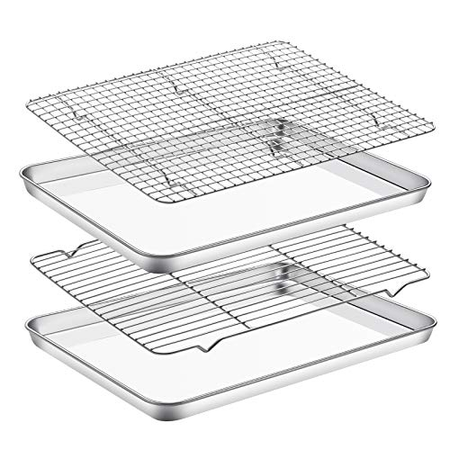 Baking Sheet with Cooling Rack Set , Set of 4 [2 Sheets+2 Racks],Size 18x13x1 Inch,Estmoon Stainless Steel Cookie Sheet for Baking Use, Baking Pan Non Toxic &Heavy Duty ,Oven & Dishwasher Safe