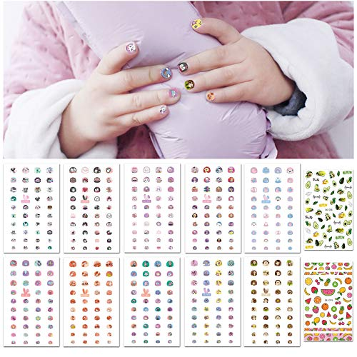 Nail Stickers for Kids Girls, EBANKU Self Adhesive Cute Penguin Cat Monkey Ocean Fruit Designs Nail Art Manicure Decals for Little Girls Fingernails Toenails Decorations with Nail File