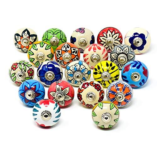 ETHNICITI 20 Mix Vintage Look Flower Ceramic Knobs Door Handle Cabinet Drawer Cupboard Pull (Multicolour)