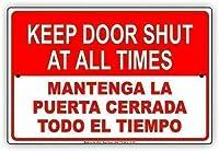 ガレージアートメタルサイン、インチ、常時ドアを閉めるマンテンガラプエルタセラダトドエルティエンポ英語スペイン語通知-オフィス地下室用ガレージカレッジ寮他の場所