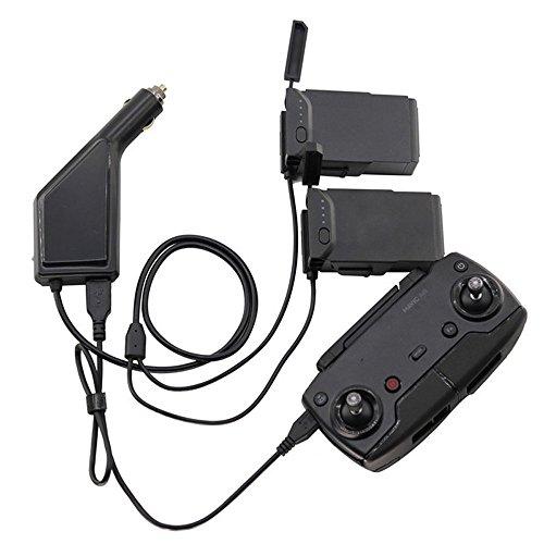 Yangers DJI Mavic Air Kfz-Ladegerät , 3 in 1 Auto Ladegerät Adapter Für 2 DJI Mavic Air Akku + 1 Fernbedienung Controller (Schwarz)