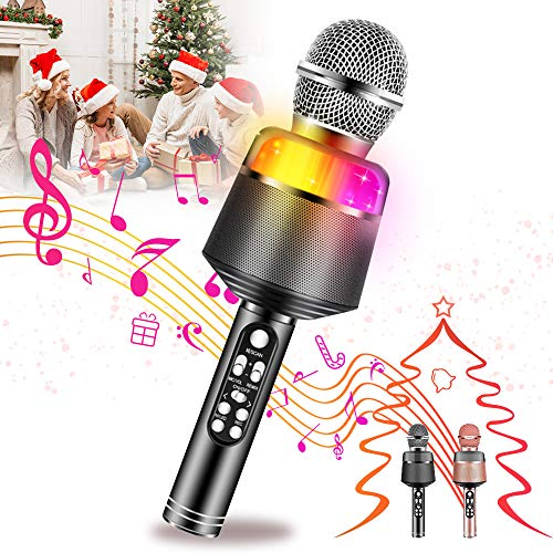 Mixi Karaoke Microphone for Kids, Wireless Bluetooth Karaoke Portable Mic Speaker Player Recorder for KTV Birthday Party for 7 8 9 10 Year Old Boys Girls Toys