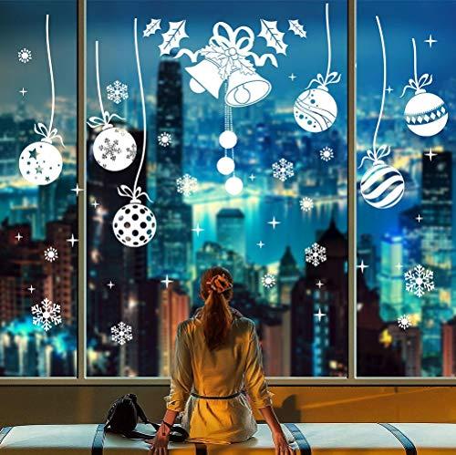 heekpek Navidad Decoración De La Hogar y La Tienda De Vinilo Ventana Pegatinas De Pared De Puerta De La Ventana Gel Pegatinas De Chuchería Bola Cascabeleo Copos De Nieve Se Aferra