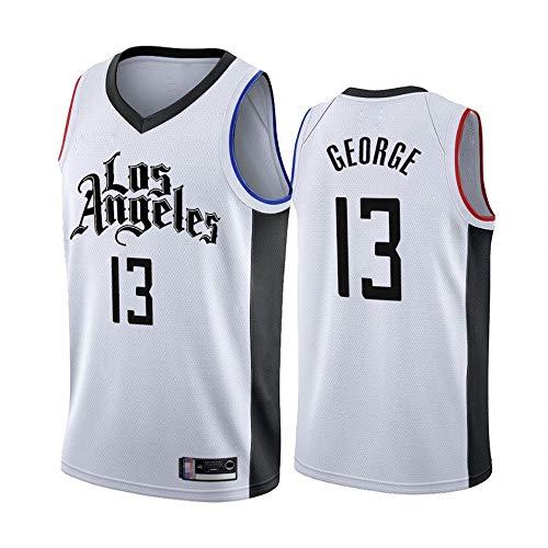 Wo nice Jerseys De Baloncesto De Los Hombres, Los Angeles Clippers # 13 Paul George Uniformes De Baloncesto De La NBA Casual Chaleco Tops Camisetas Sin Mangas,Blanco,XXL(185~190CM)