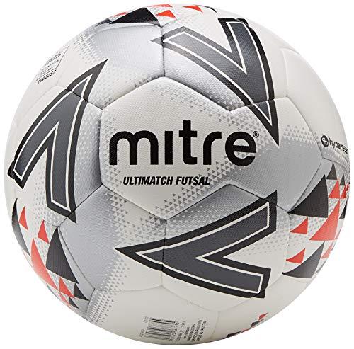 Mitre Ultimatch Futsal Fußball, Unisex, Weiß/Rot/Schwarz, Größe 4