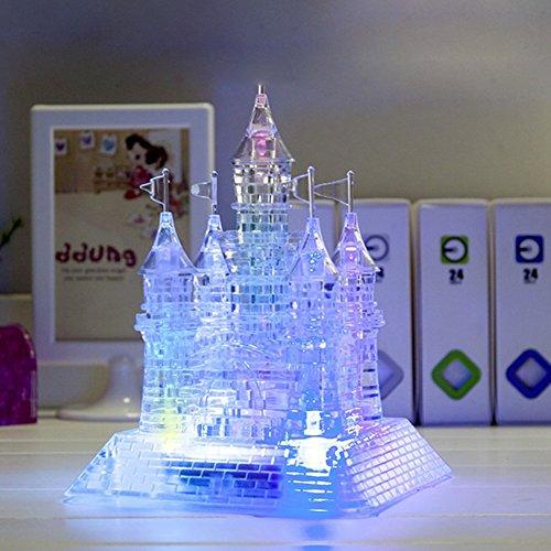 FADDR - Puzzle 3D de castillo de cristal con luces LED, puzzle 3D DIY para música, modelo de flash, juguete educativo para niños, claro, Tamaño libre