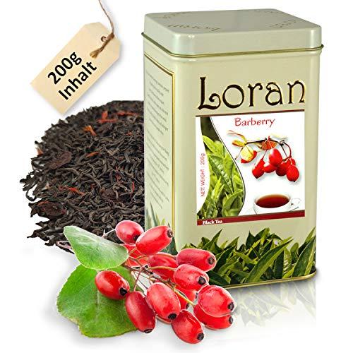 LORAN - Schwarzer Tee mit Berberitze, Premium Qualität, Ceylon Tee schwarz aus Sri Lanka, lose in Dose 200g, Berberitzen, Ringelblumenblüten und Berberitze-Aroma, Geschenk für Frauen und Männer