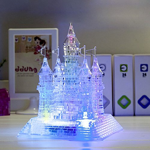 FADDR 3D Crystal Castle Puzzle con luces LED 3D DIY Puzzle para música Flash Modelo Educational Kids edificios de juguetes (transparente)