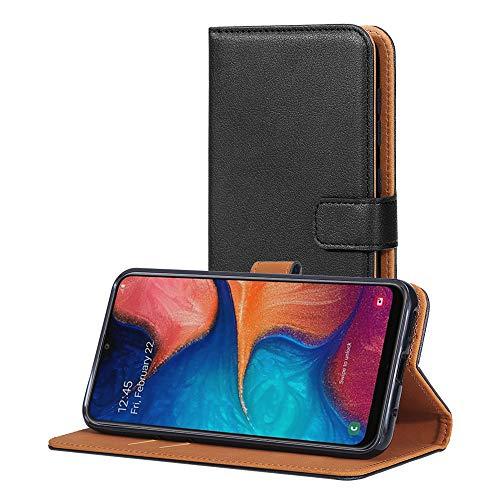 AICEK Hülle Kompatibel mit Samsung Galaxy A20e, Lederhülle für Samsung Galaxy A20e Schutzhülle PU Leder Klapphülle mit Kartenfach Ständer Magnet Funktion Schwarz (5,8 Zoll)