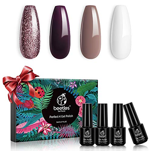Beetles Dark Burgandy Plum Gel Nail Polish Set - 4 Colors Glitter Metallic Beige White Gel Polish Kit Nail Gel Polish Soak Off LED Lamp Gel Nail Kit Vanish Manicure DIY Home Holiday