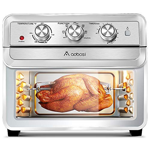 Toaster Oven AOBOSI, 6-in-1 Multi-Function 24Qt Air Fryer Toaster Oven, Toast/Bake/Broil/Airfry/Dehydrate/Reheat, Natural Convection - 1700W, Free 7 Kinds of Accessories and Recipi